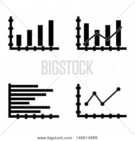 Set Of Statistics Icons On Bar Chart, Pointed Line Chart And Horizontal Bar Chart. Statistics Vector