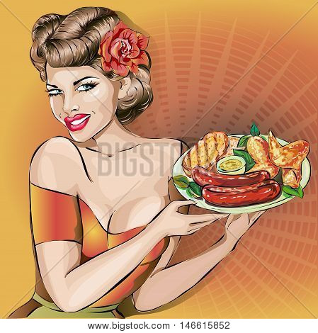 Oktoberfest Party Bavarian Woman With Plate, Pin-up Pop-art Sexy Girl Vector
