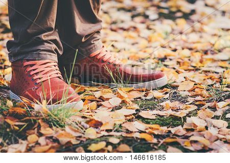 Feet Man leather sneakers walking in park with yellow fall leaves Autumn season nature on background Lifestyle concept
