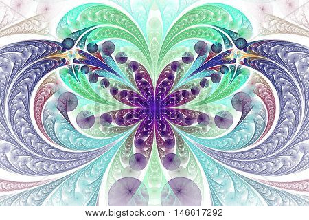 Abstract floral ornament on white background. Symmetrical pattern. Computer-generated fractal in green turquoise navy blue yellow and violet colors.