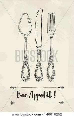Hand drawn vector illustration of curly ornamental silver tableware, cutleryon a beige background watercolor background and texture. Hand drawn design element. Vector Illustration.