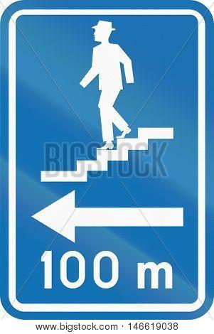 Belgian Informational Road Sign - Pedestrian Underpass