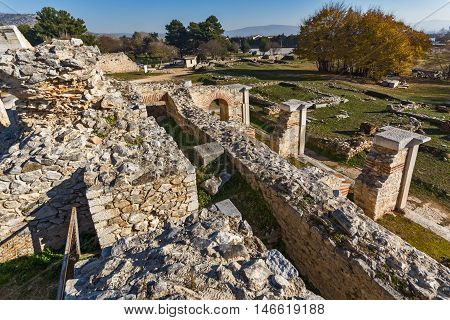 Panorama of the archeological area of Philippi, Eastern Macedonia and Thrace, Greece