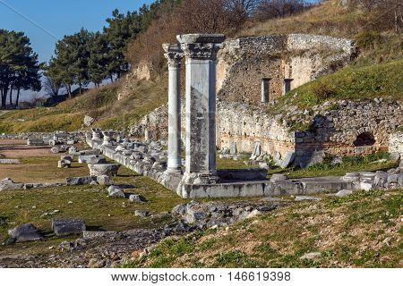 Ruins and Ancient columns in the archeological area of Philippi, Eastern Macedonia and Thrace, Greece
