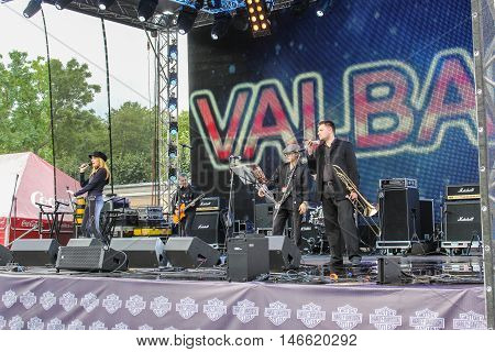 St. Petersburg, Russia - 12 August, Musicians with instruments on the stage,12 August, 2016. Pop and rock musicians on Harley Davidson festival in St. Petersburg.