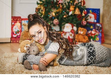 Beautiful Young Brunette Girl With Soft Bear Toys