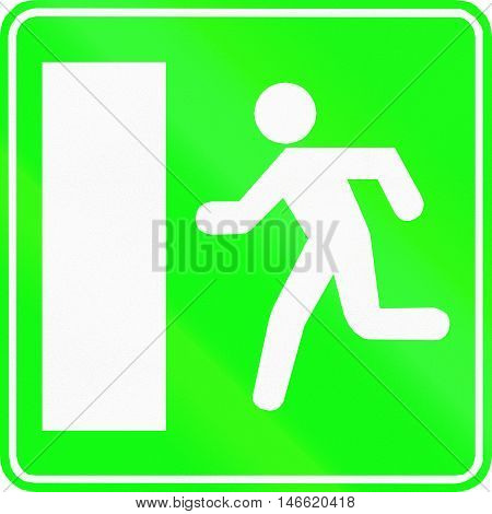 Belgian Informational Road Sign - Emergency Exit Sign