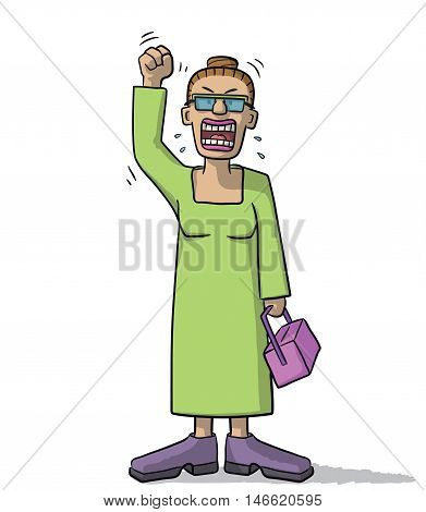 Cartoon Woman Very Angry