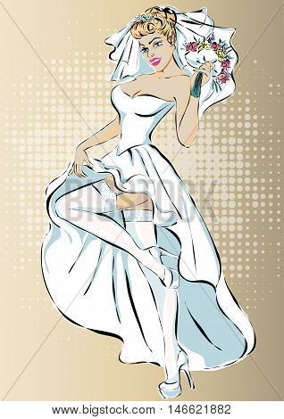 Beautiful Retro Pin Up Bride In Wedding Dress Vector
