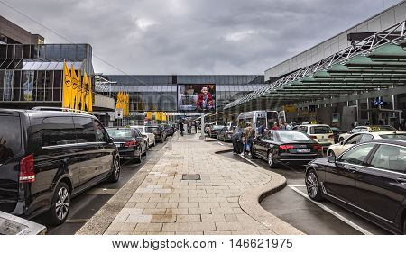 FRANKFURT AM MAIN GERMANY - JUNE 30 2016: International Frankfurt Airport the busiest airport in Germany. In 2012 Frankfurt handled 57.5 million passengers.