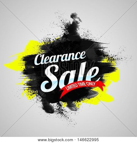 Clearance Sale Poster, Sale Banner or Flyer design, Limited Time Offer Sale, Abstract background with watercolor brush stroke, Creative vector illustration.