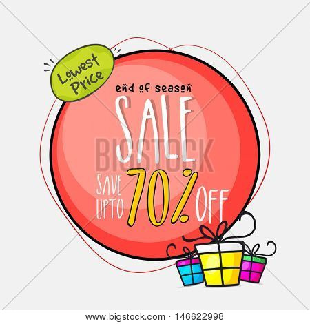End of Season Sale with 70% Off, Lowest Price Discount Offer, Creative Poster, Banner or Flyer design with colorful gifts.