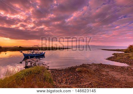 Fishing Boat Sunrise Lesvos