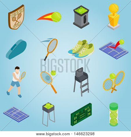 Isometric tennis icons set. Universal tennis icons to use for web and mobile UI, set of basic tennis elements vector illustration