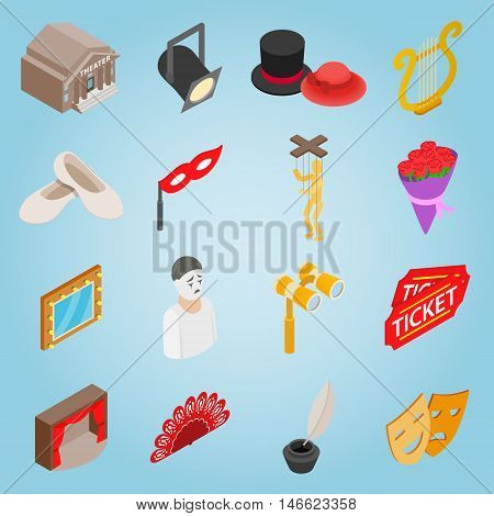 Isometric theatre icons set. Universal theatre icons to use for web and mobile UI, set of basic theatre elements vector illustration