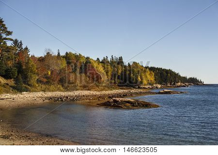 The natural beauty of the Acadia National Park in Bar Harbor (Maine USA) during the indian summer at the waterfront