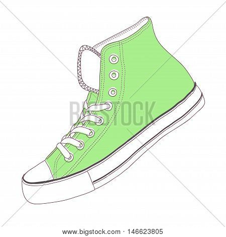 The hand draw vector modern sport shoes with Brazil flag