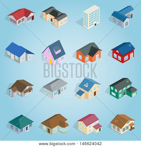 Isometric cottage icons set. Universal cottage icons to use for web and mobile UI, set of basic cottage elements vector illustration