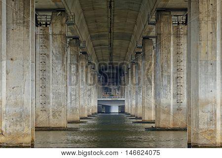 View under bridge on the River