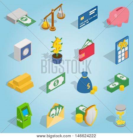 Isometric bank icons set. Universal bank icons to use for web and mobile UI, set of basic bank elements vector illustration