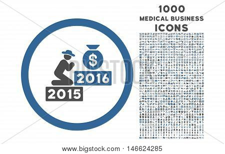 Pray for Money 2016 rounded glyph bicolor icon with 1000 medical business icons. Set style is flat pictograms, cobalt and gray colors, white background.