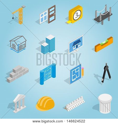 Isometric architecture icons set. Universal architecture icons to use for web and mobile UI, set of basic architecture elements vector illustration