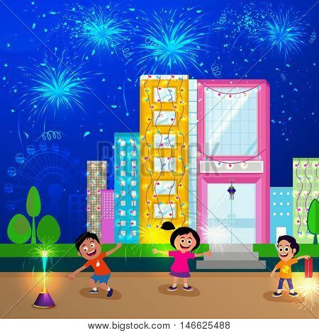 Cute kids enjoying crackers on occasion of Diwali Festival, Sparkling urban city background with firework explosion, Creative vector illustration for Indian Festival of Lights celebration.