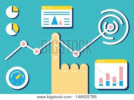 Flat linear design modern vector illustration of analytics and e-management of data on dashboard. Infographics banner