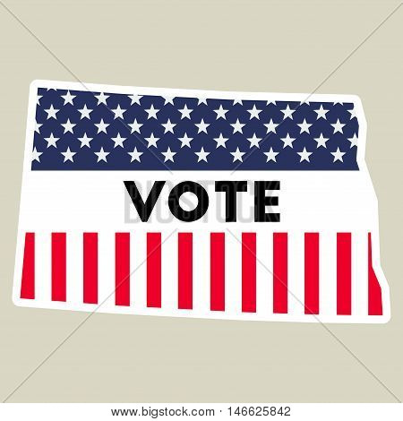 Usa Presidential Election 2016 Vote Sticker. North Dakota State Map Outline With Us Flag. Vote Stick