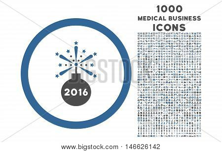 2016 Fireworks Detonator rounded vector bicolor icon with 1000 medical business icons. Set style is flat pictograms, cobalt and gray colors, white background.