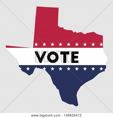 Vote Texas State Map Outline. Patriotic Design Element To Encourage Voting In Presidential Election