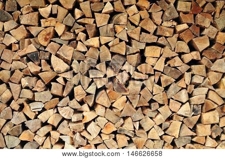 Pile of a chopped fire wood pattern