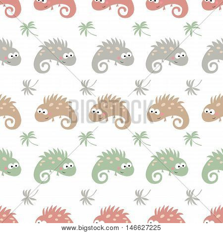Seamless cartoon pattern with chameleon on white background.