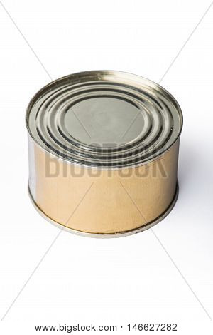 Canned meat or fish on a gray background