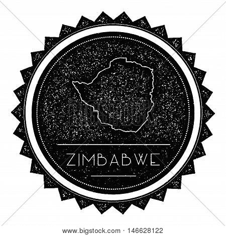 Zimbabwe Map Label With Retro Vintage Styled Design. Hipster Grungy Zimbabwe Map Insignia Vector Ill