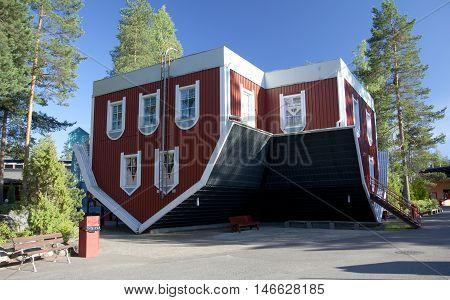 Kouvola, Finland - 01 July 2015: Ride House Of Surprises In Amusement Park Tykkimaki.