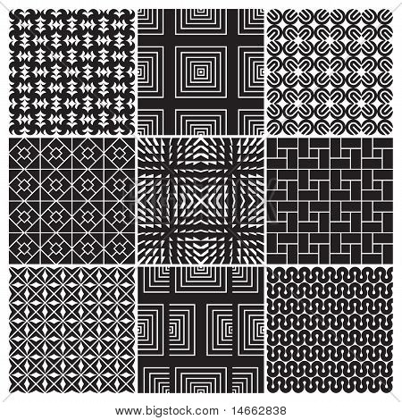 9 seamless monochrome patterns (vector)
