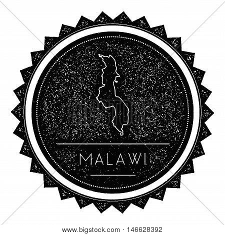 Malawi Map Label With Retro Vintage Styled Design. Hipster Grungy Malawi Map Insignia Vector Illustr