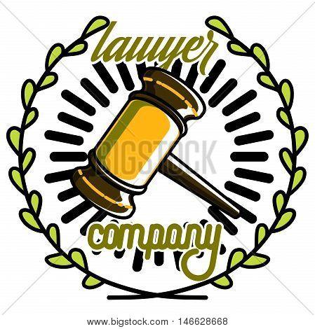 Color vintage lawyer emblem. Law office logo. Law firm logo template. Vector illustration, EPS 10