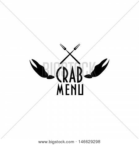 Vintage styled label two with crab claws and two crab forks could be used as seafood restaurant menu cover template, crab festival menu element, site icon, seafood menu symbol etc.
