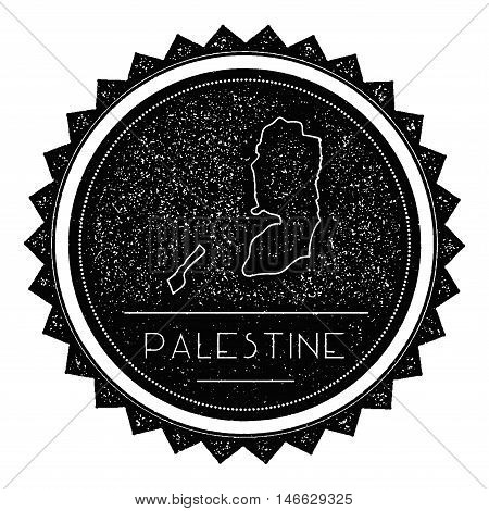 Palestine Map Label With Retro Vintage Styled Design. Hipster Grungy Palestine Map Insignia Vector I
