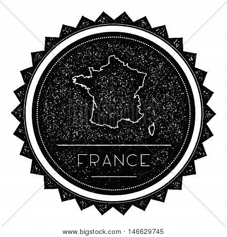 France Map Label With Retro Vintage Styled Design. Hipster Grungy France Map Insignia Vector Illustr