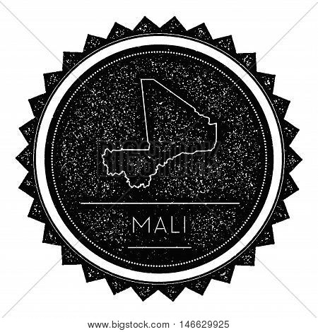 Mali Map Label With Retro Vintage Styled Design. Hipster Grungy Mali Map Insignia Vector Illustratio