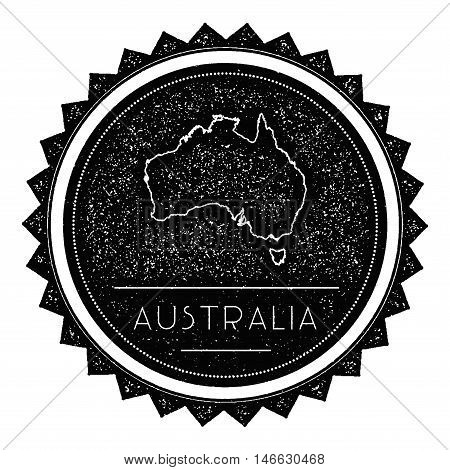 Australia Map Label With Retro Vintage Styled Design. Hipster Grungy Australia Map Insignia Vector I