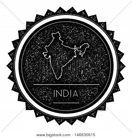 India Map Label With Retro Vintage Styled Design. Hipster Grungy India Map Insignia Vector Illustrat