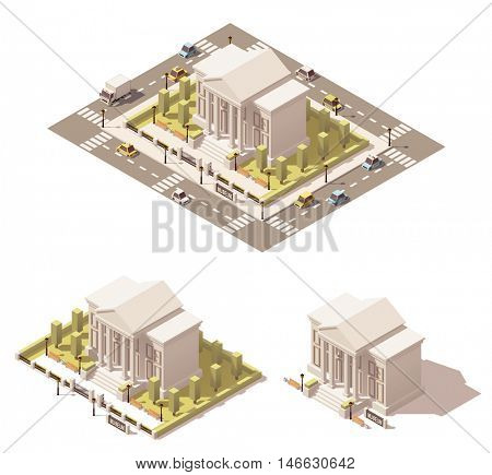 Vector isometric low poly city infographic element representing museum building