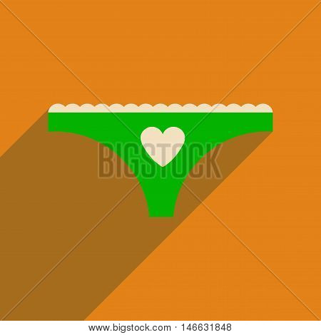 Flat icon with long shadow  women's panties