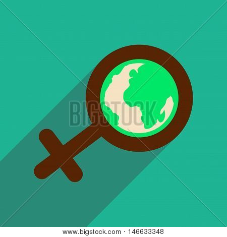 flat icon with long shadow  feminine sign Global
