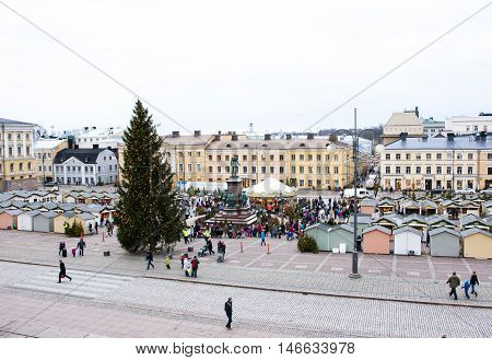 Helsinki, Finland - 21 December 2015: The Christmas Market On Senate Square, Helsinki City