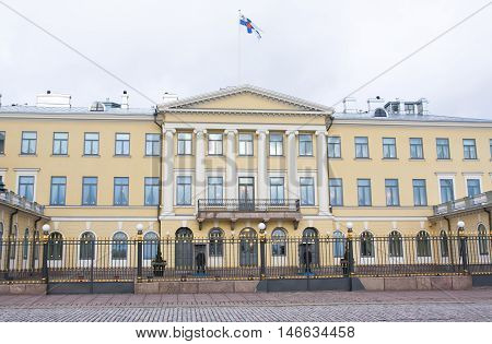 Helsinki, Finland - 21 December 2015: Building Of Presidential Palace.